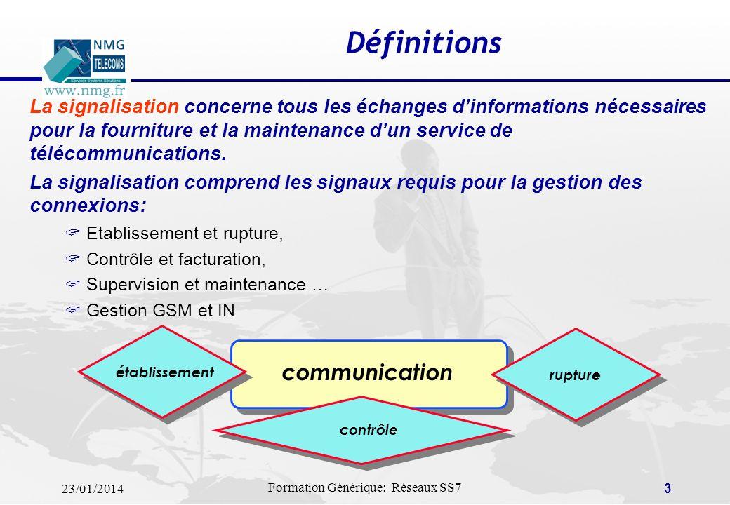 23/01/2014 Formation Générique: Réseaux SS7 2 SOMMAIRE Définitions Caractéristiques (Signalisations Usager & Réseau) SS7: Principes de base SS7: Modes