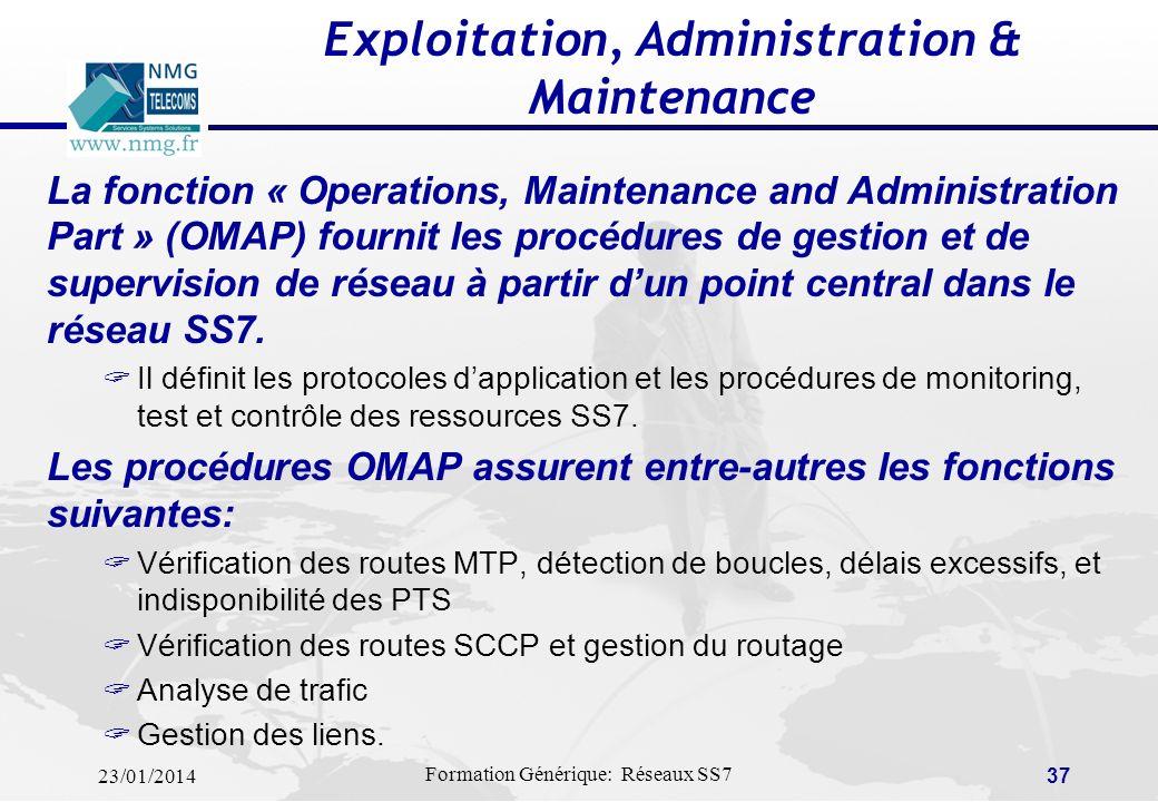 23/01/2014 Formation Générique: Réseaux SS7 36 Racreochage pendant létablissement – Cause = HE Switch A (calling) IAM Initial Address SAM Subsequent A
