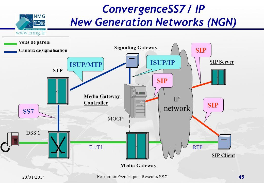 23/01/2014 Formation Générique: Réseaux SS7 44 Accès aux services intelligents via CAMEL (Convergence Mobile/IN) CAMEL = Customized Applications for M