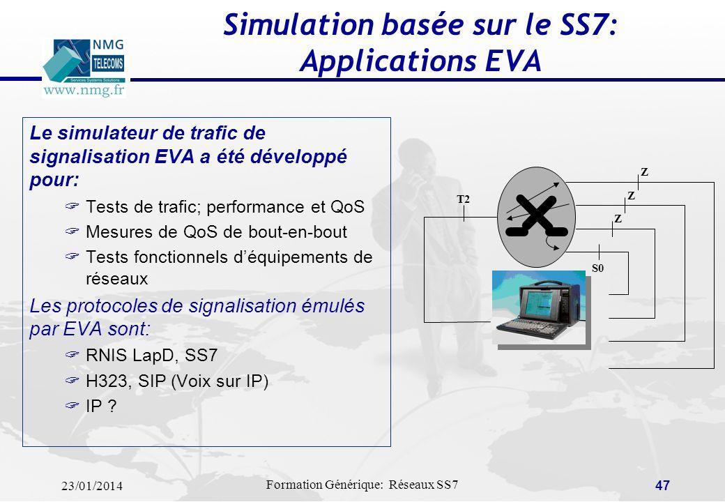 23/01/2014 Formation Générique: Réseaux SS7 46 Supervision basée sur le SS7: Applications PrOceSS7 PrOceSS7 utilise la richesse des informations sur l
