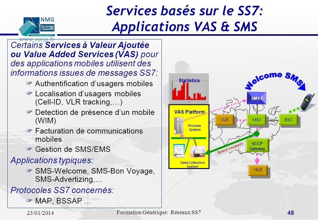 23/01/2014 Formation Générique: Réseaux SS7 47 Simulation basée sur le SS7: Applications EVA Le simulateur de trafic de signalisation EVA a été dévelo