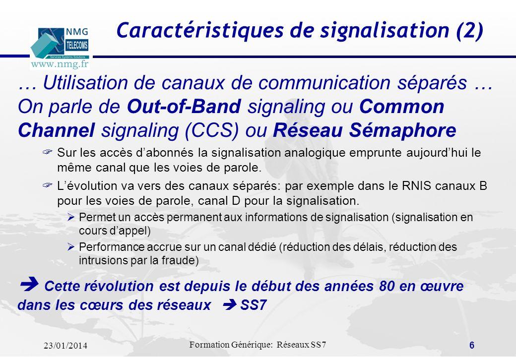 23/01/2014 Formation Générique: Réseaux SS7 5 Caractéristiques de signalisation (1) … De la signalisation analogique vers la signalisation numérique …