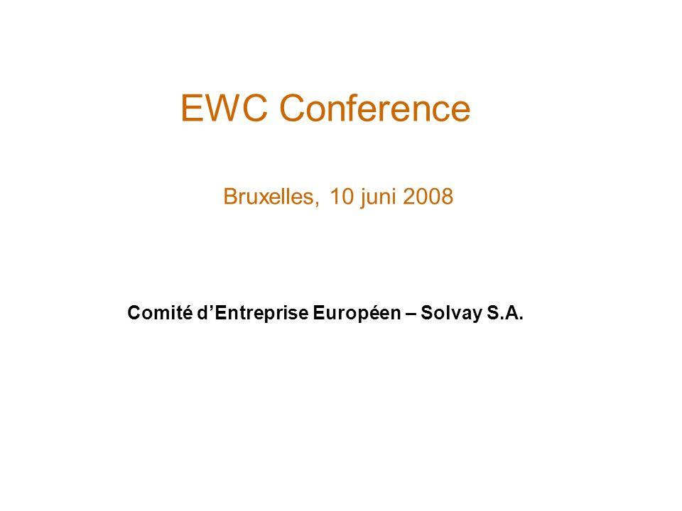 EWC Conference Bruxelles, 10 juni 2008 Comité dEntreprise Européen – Solvay S.A.