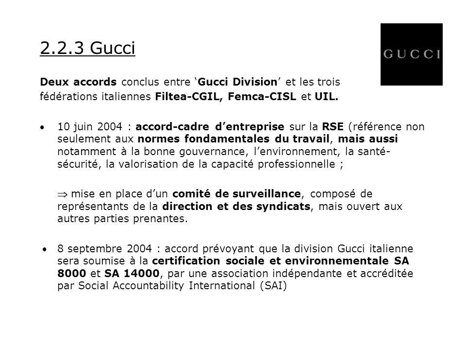 2.2.3 Gucci Deux accords conclus entre Gucci Division et les trois fédérations italiennes Filtea-CGIL, Femca-CISL et UIL.
