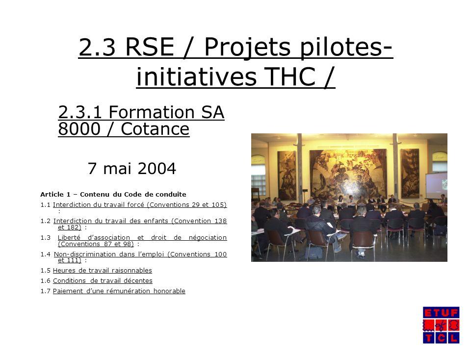 2.3 RSE / Projets pilotes- initiatives THC / 2.3.1 Formation SA 8000 / Cotance 7 mai 2004 Article 1 – Contenu du Code de conduite 1.1 Interdiction du travail forcé (Conventions 29 et 105) : 1.2 Interdiction du travail des enfants (Convention 138 et 182) : 1.3 Liberté dassociation et droit de négociation (Conventions 87 et 98) : 1.4 Non-discrimination dans lemploi (Conventions 100 et 111) : 1.5 Heures de travail raisonnables 1.6 Conditions de travail décentes 1.7 Paiement dune rémunération honorable