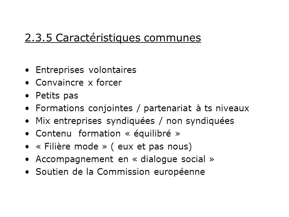 2.3.5 Caractéristiques communes Entreprises volontaires Convaincre x forcer Petits pas Formations conjointes / partenariat à ts niveaux Mix entreprises syndiquées / non syndiquées Contenu formation « équilibré » « Filière mode » ( eux et pas nous) Accompagnement en « dialogue social » Soutien de la Commission européenne