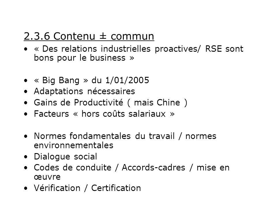 2.3.6 Contenu ± commun « Des relations industrielles proactives/ RSE sont bons pour le business » « Big Bang » du 1/01/2005 Adaptations nécessaires Gains de Productivité ( mais Chine ) Facteurs « hors coûts salariaux » Normes fondamentales du travail / normes environnementales Dialogue social Codes de conduite / Accords-cadres / mise en œuvre Vérification / Certification