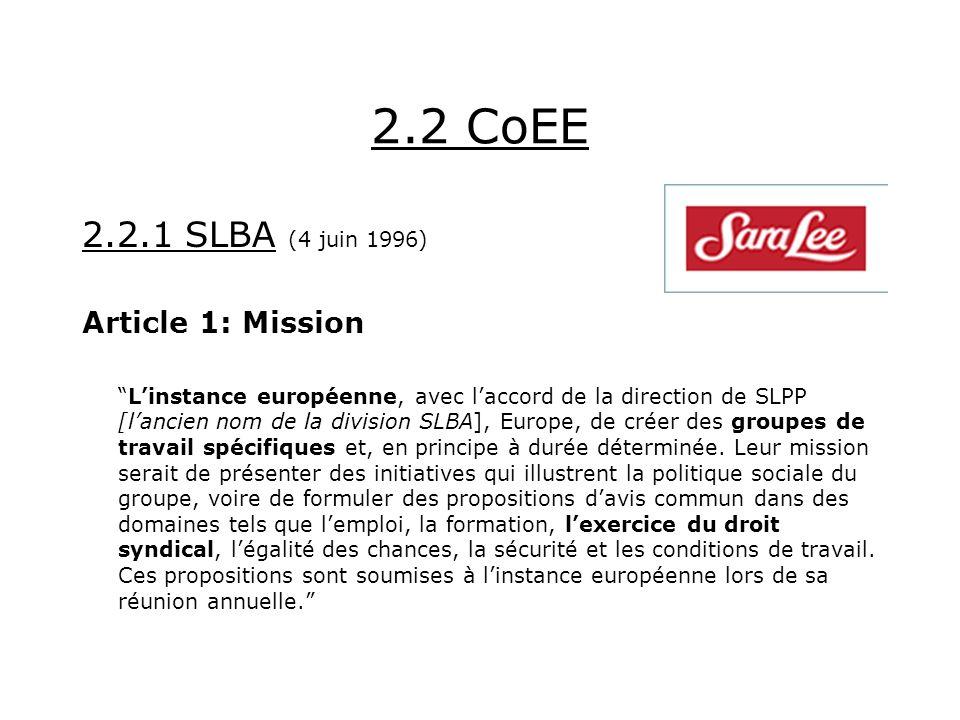 2.2 CoEE 2.2.1 SLBA (4 juin 1996) Article 1: Mission Linstance européenne, avec laccord de la direction de SLPP [lancien nom de la division SLBA], Europe, de créer des groupes de travail spécifiques et, en principe à durée déterminée.