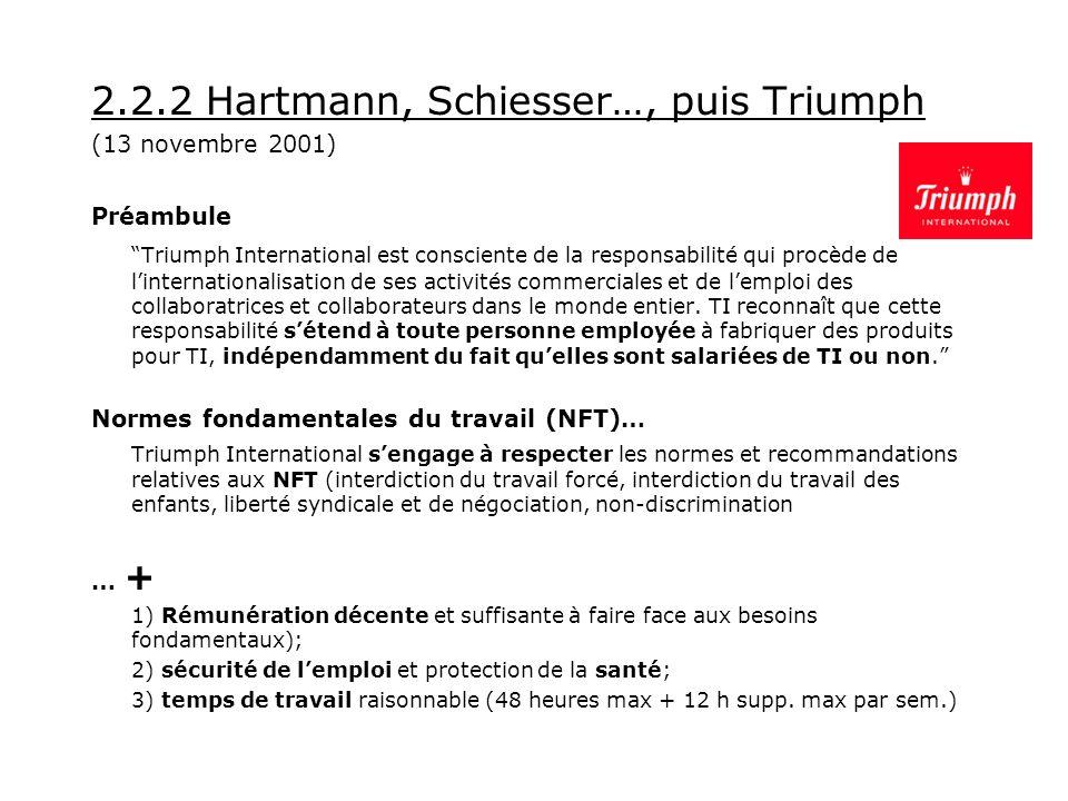 2.2.2 Hartmann, Schiesser…, puis Triumph (13 novembre 2001) Préambule Triumph International est consciente de la responsabilité qui procède de linternationalisation de ses activités commerciales et de lemploi des collaboratrices et collaborateurs dans le monde entier.