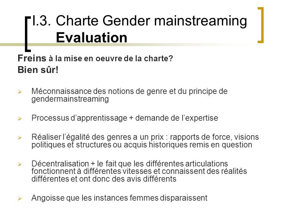 I.3. Charte Gender mainstreaming Evaluation Freins à la mise en oeuvre de la charte.