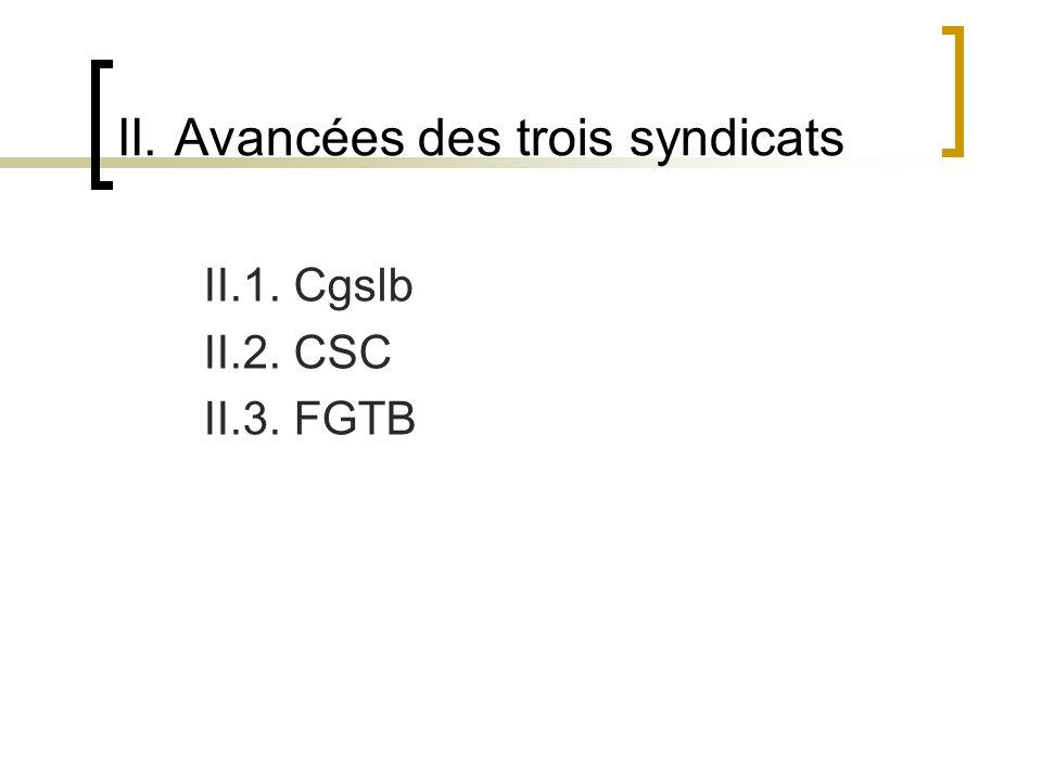 II. Avancées des trois syndicats II.1. Cgslb II.2. CSC II.3. FGTB