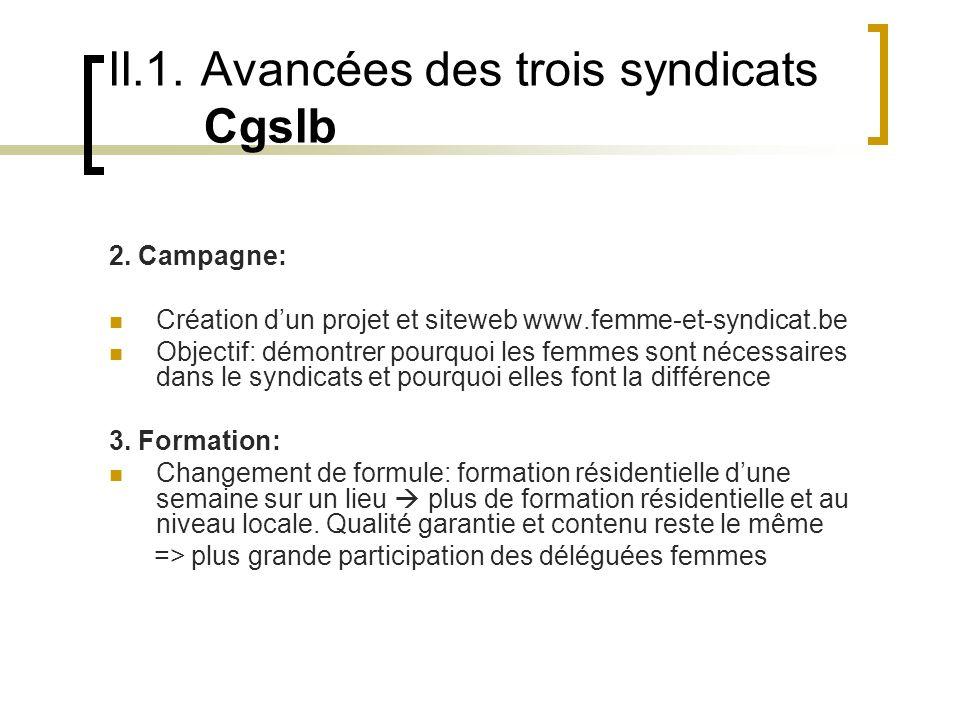 II.1. Avancées des trois syndicats Cgslb 2.