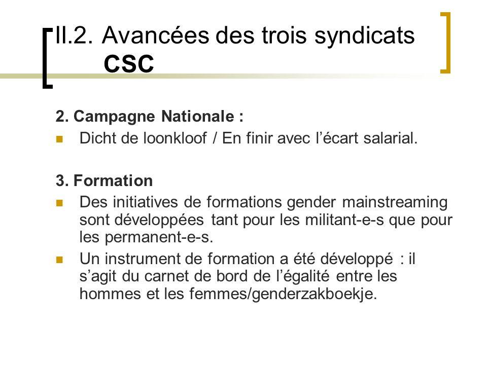 II.2. Avancées des trois syndicats CSC 2.