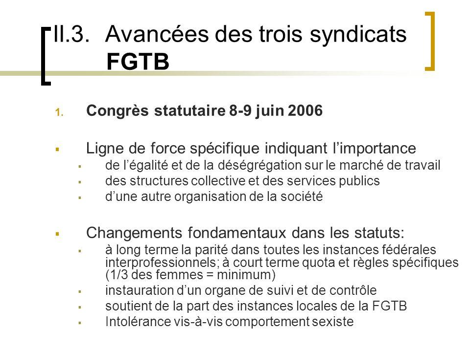 II.3. Avancées des trois syndicats FGTB 1.