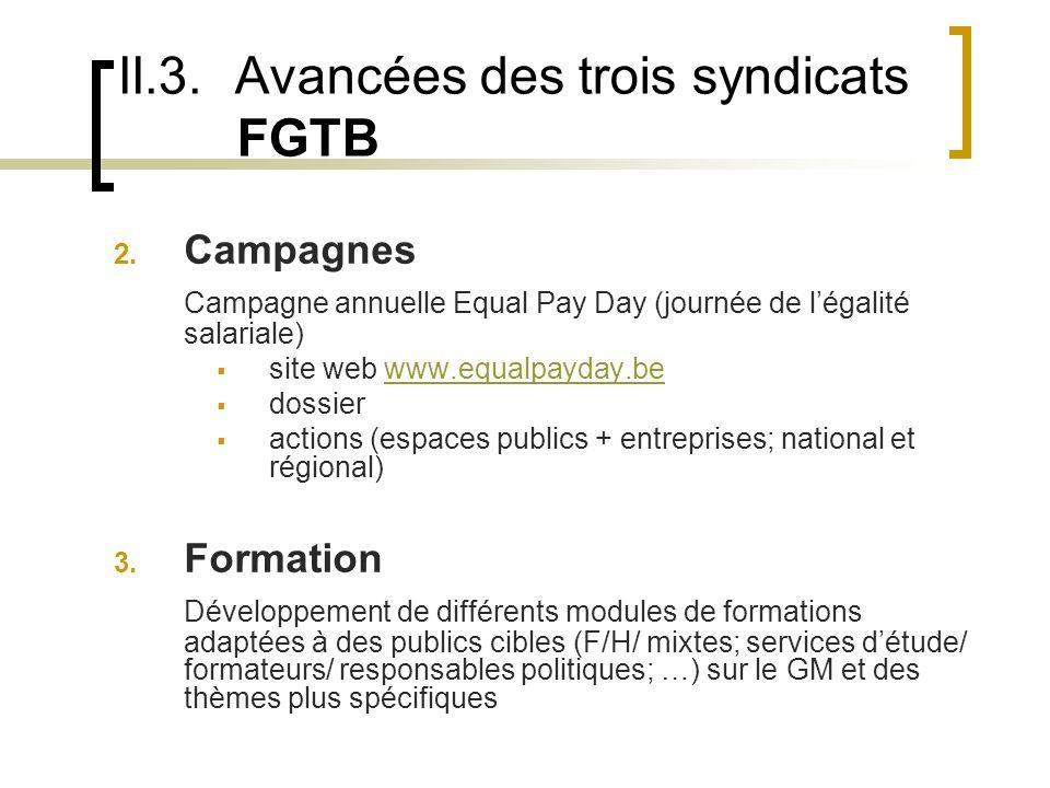 II.3. Avancées des trois syndicats FGTB 2.