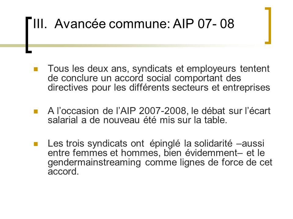 III. Avancée commune: AIP 07- 08 Tous les deux ans, syndicats et employeurs tentent de conclure un accord social comportant des directives pour les di