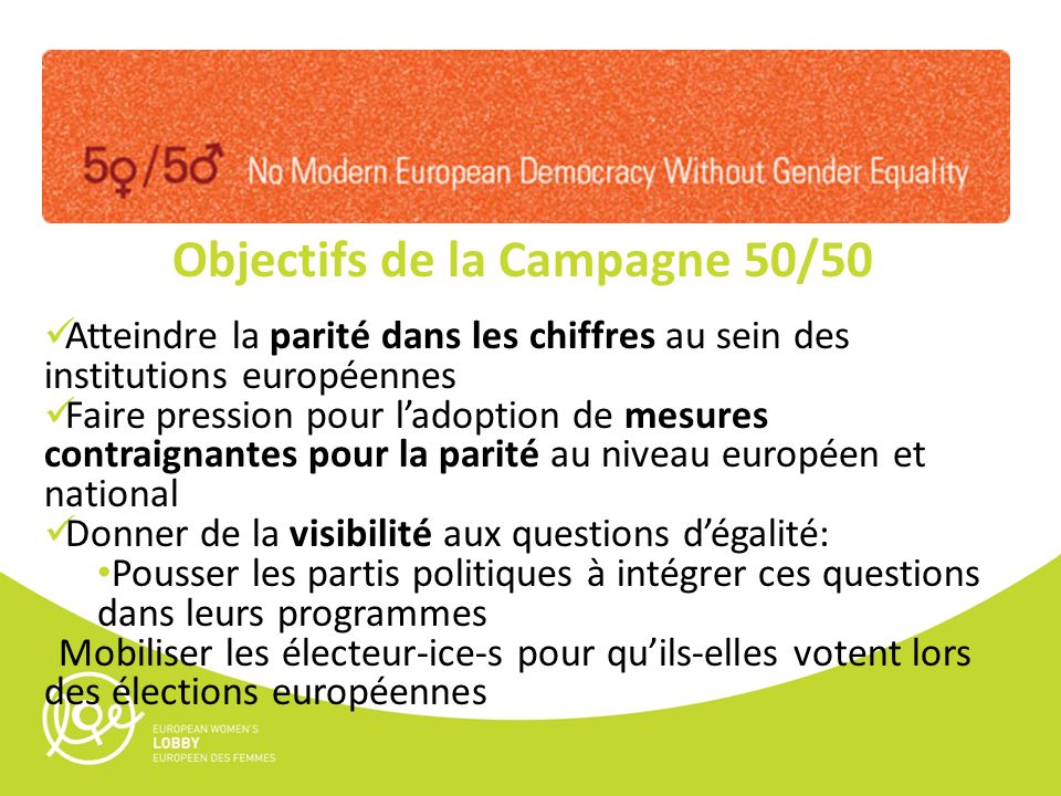 Objectifs de la Campagne 50/50 Atteindre la parité dans les chiffres au sein des institutions européennes Faire pression pour ladoption de mesures con