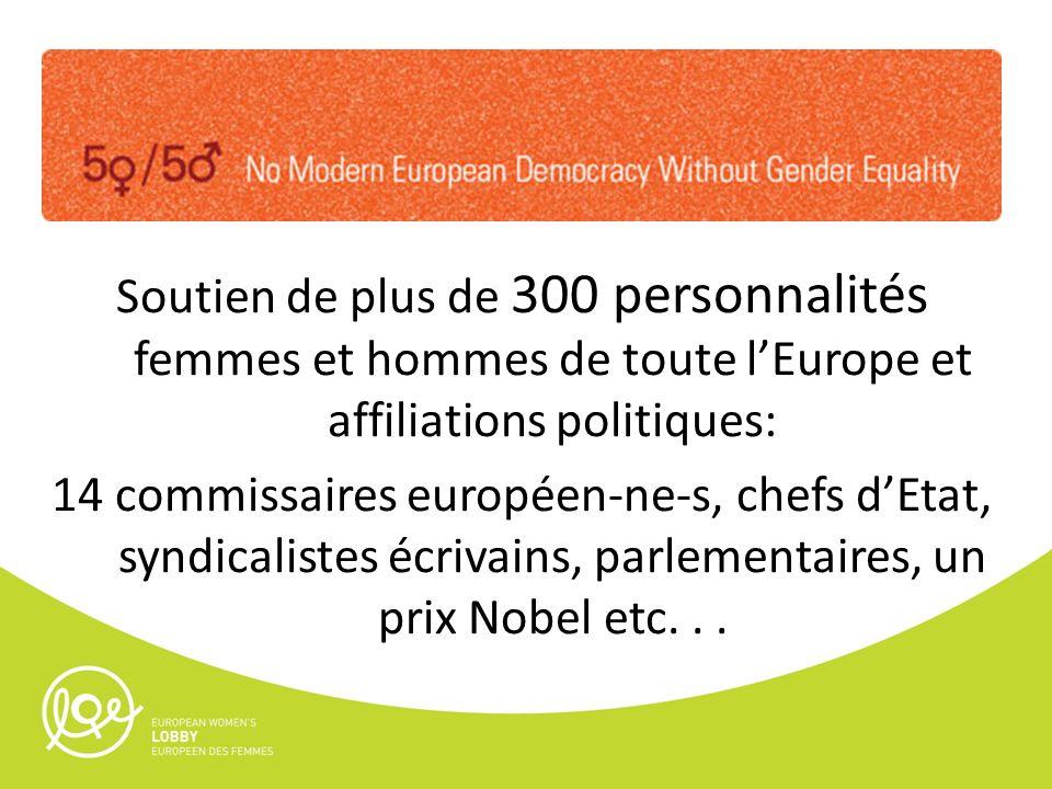 Soutien de plus de 300 personnalités femmes et hommes de toute lEurope et affiliations politiques: 14 commissaires européen-ne-s, chefs dEtat, syndica