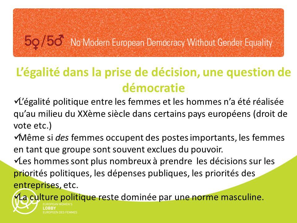 Légalité dans la prise de décision, une question de démocratie Légalité politique entre les femmes et les hommes na été réalisée quau milieu du XXème