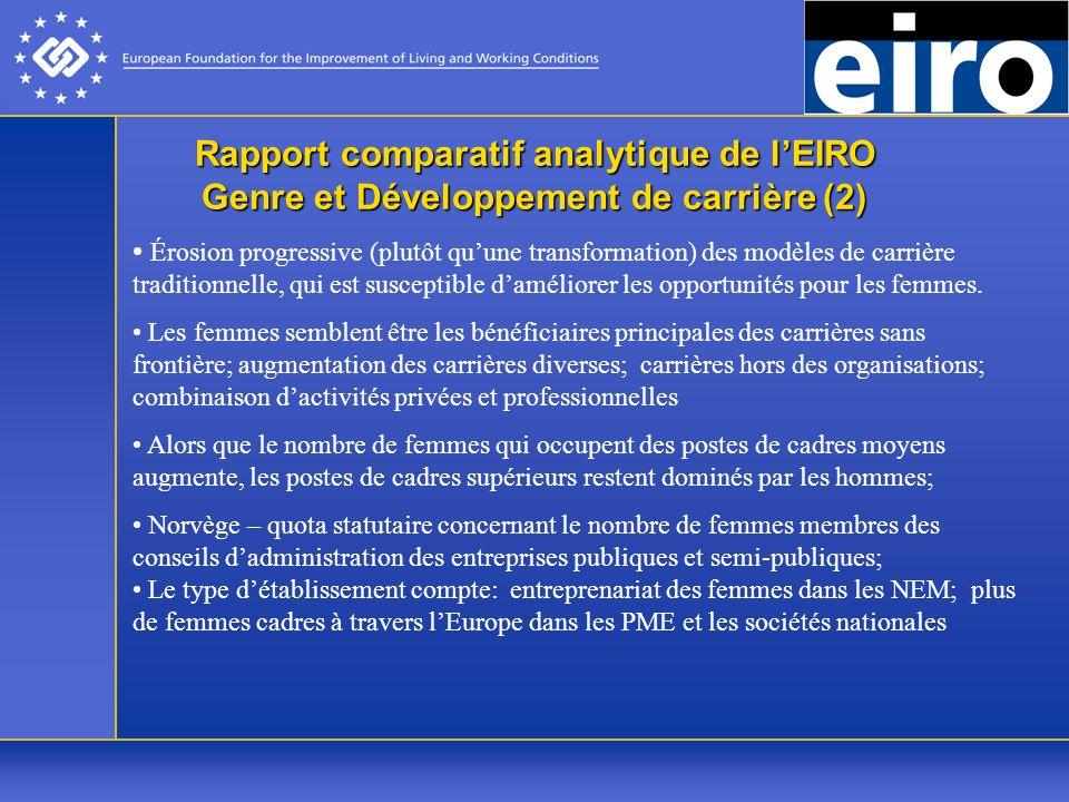 Rapport comparatif analytique de lEIRO Genre et Développement de carrière (2) Érosion progressive (plutôt quune transformation) des modèles de carrière traditionnelle, qui est susceptible daméliorer les opportunités pour les femmes.