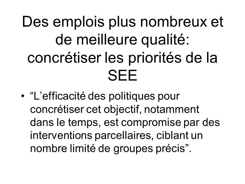 Des emplois plus nombreux et de meilleure qualité: concrétiser les priorités de la SEE Lefficacité des politiques pour concrétiser cet objectif, notamment dans le temps, est compromise par des interventions parcellaires, ciblant un nombre limité de groupes précis.