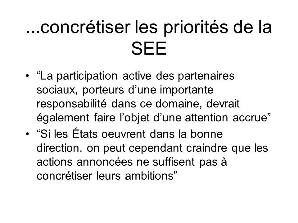 ...concrétiser les priorités de la SEE La participation active des partenaires sociaux, porteurs dune importante responsabilité dans ce domaine, devra