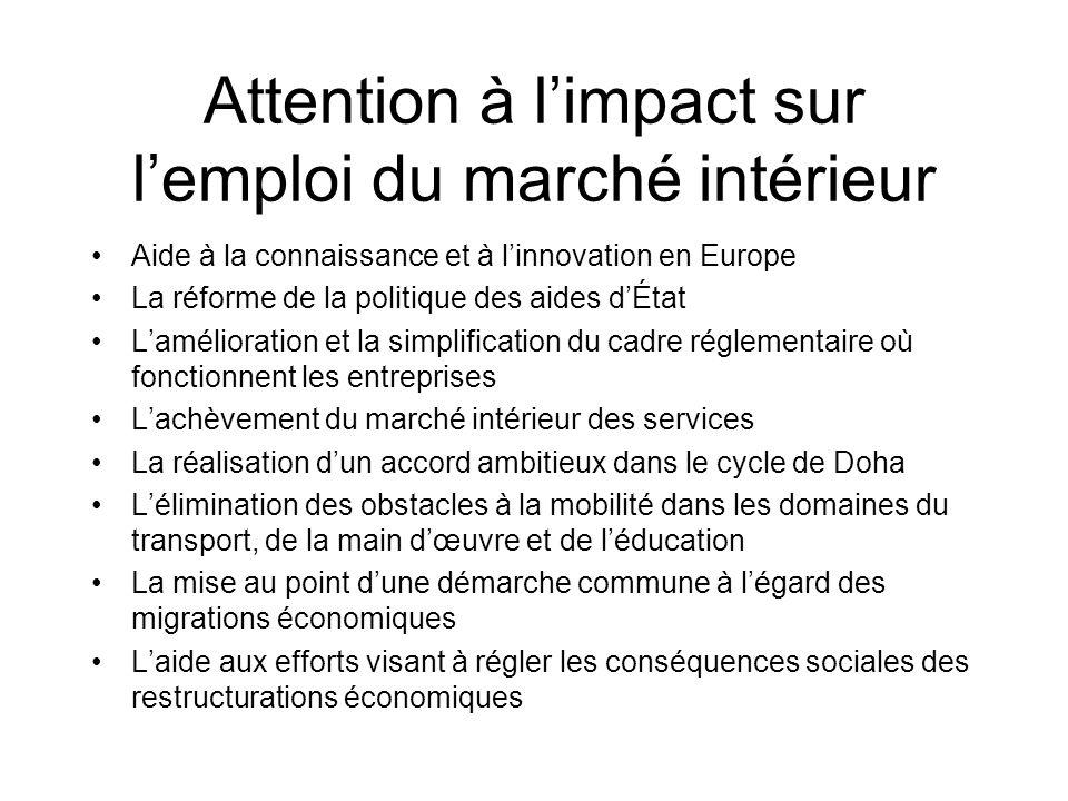Attention à limpact sur lemploi du marché intérieur Aide à la connaissance et à linnovation en Europe La réforme de la politique des aides dÉtat Lamél