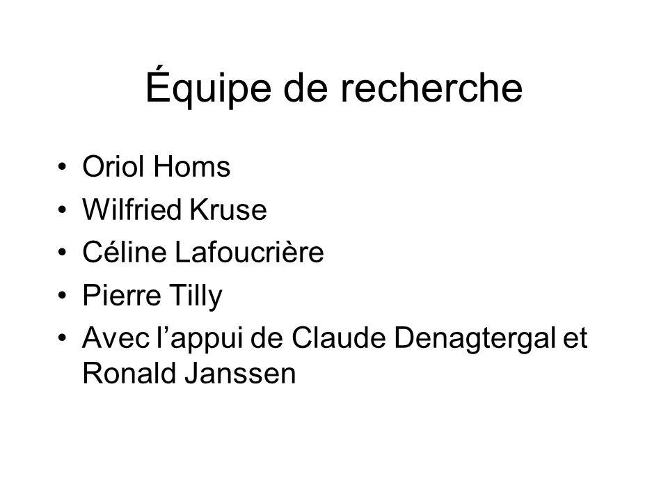 Équipe de recherche Oriol Homs Wilfried Kruse Céline Lafoucrière Pierre Tilly Avec lappui de Claude Denagtergal et Ronald Janssen