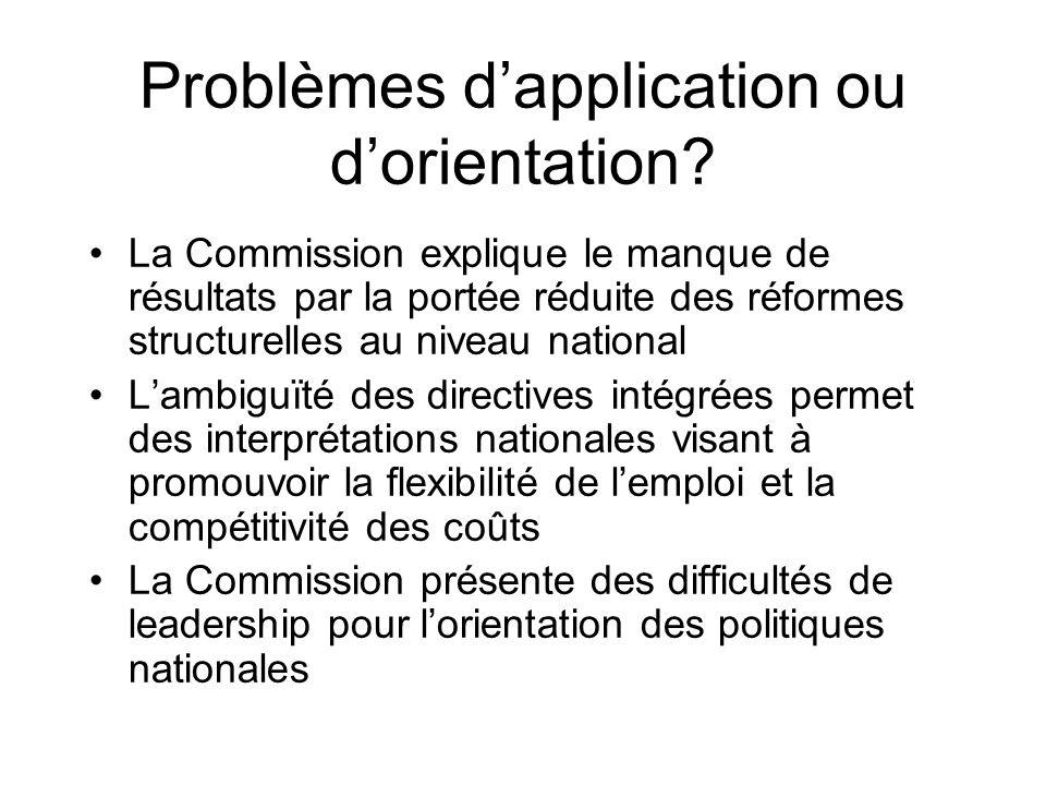 Problèmes dapplication ou dorientation? La Commission explique le manque de résultats par la portée réduite des réformes structurelles au niveau natio