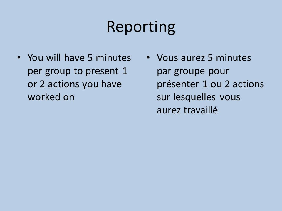 Reporting You will have 5 minutes per group to present 1 or 2 actions you have worked on Vous aurez 5 minutes par groupe pour présenter 1 ou 2 actions sur lesquelles vous aurez travaillé