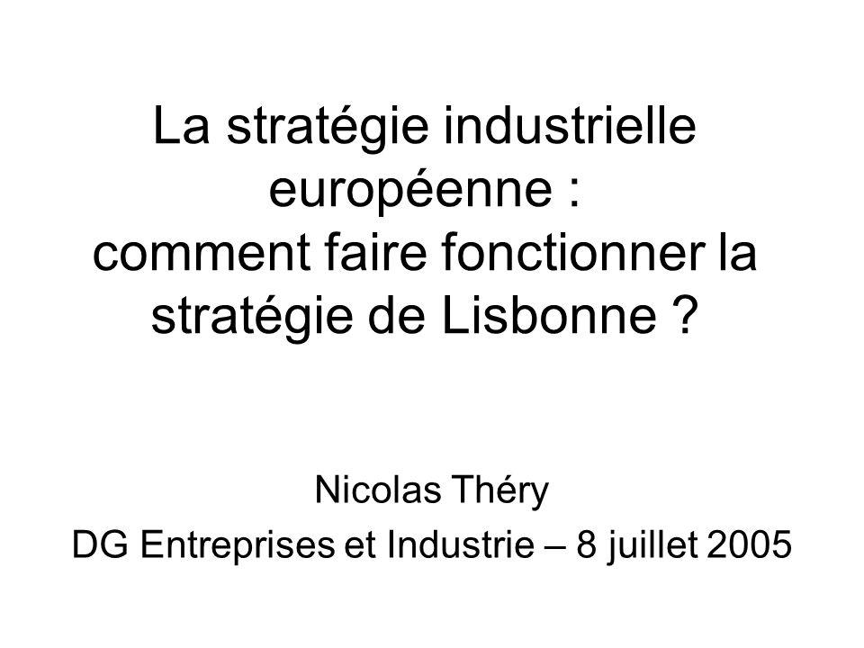 Plan 1.Lisbonne 2000 : un grand bond en avant… resté sur place 2.Lisbonne 2005 : une stratégie européenne, un espoir industriel 3.Reste à traduire cela dans les faits…
