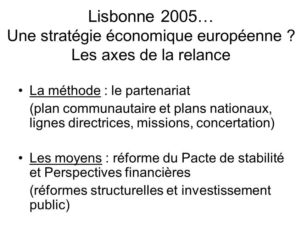 Lisbonne 2005… Une stratégie économique européenne ? Les axes de la relance La méthode : le partenariat (plan communautaire et plans nationaux, lignes