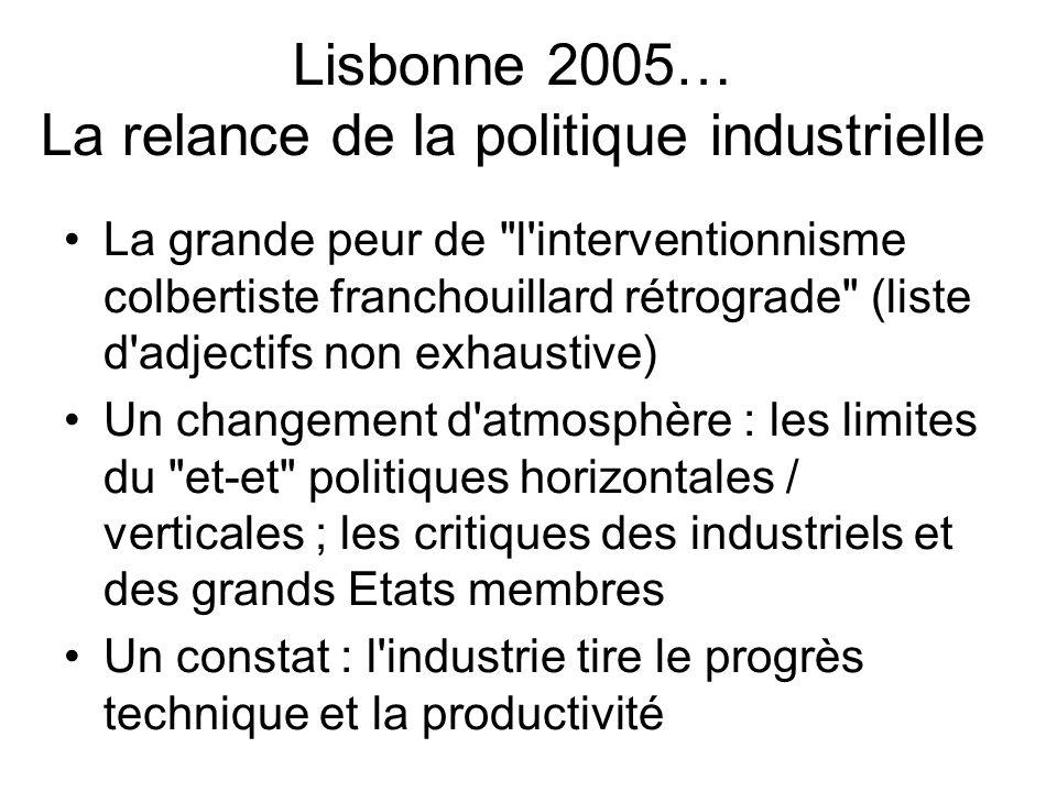 Lisbonne 2005… La relance de la politique industrielle La grande peur de