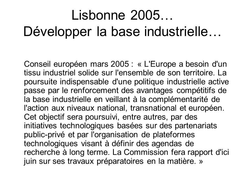 Lisbonne 2005… Développer la base industrielle… Conseil européen mars 2005 : « L'Europe a besoin d'un tissu industriel solide sur l'ensemble de son te