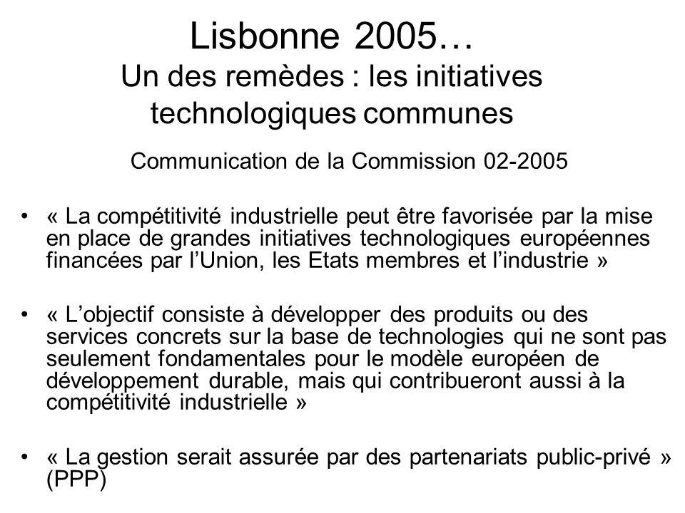 Lisbonne 2005… Un des remèdes : les initiatives technologiques communes Communication de la Commission 02-2005 « La compétitivité industrielle peut êt