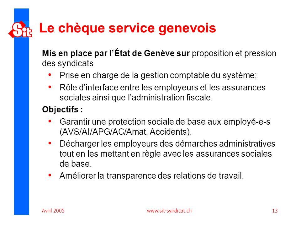 Avril 2005 www.sit-syndicat.ch13 Le chèque service genevois Mis en place par lÉtat de Genève sur proposition et pression des syndicats Prise en charge
