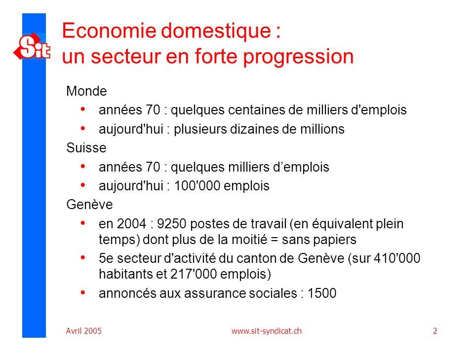 Avril 2005 www.sit-syndicat.ch13 Le chèque service genevois Mis en place par lÉtat de Genève sur proposition et pression des syndicats Prise en charge de la gestion comptable du système; Rôle dinterface entre les employeurs et les assurances sociales ainsi que ladministration fiscale.