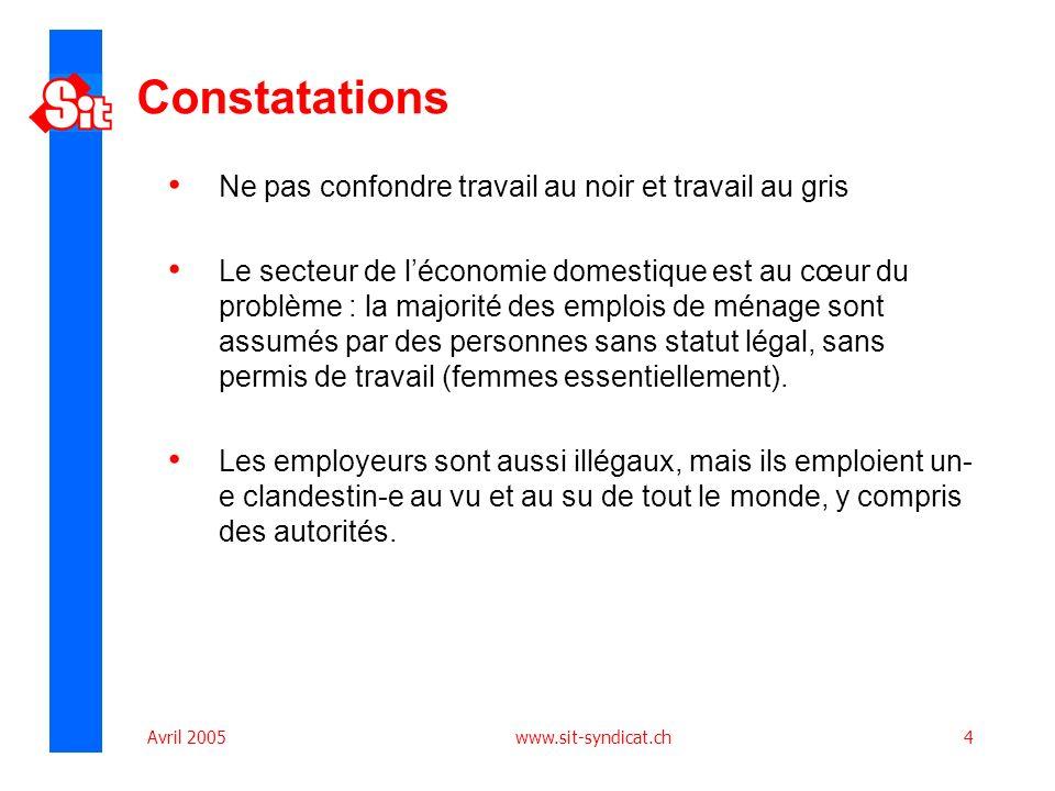 Avril 2005 www.sit-syndicat.ch4 Constatations Ne pas confondre travail au noir et travail au gris Le secteur de léconomie domestique est au cœur du problème : la majorité des emplois de ménage sont assumés par des personnes sans statut légal, sans permis de travail (femmes essentiellement).