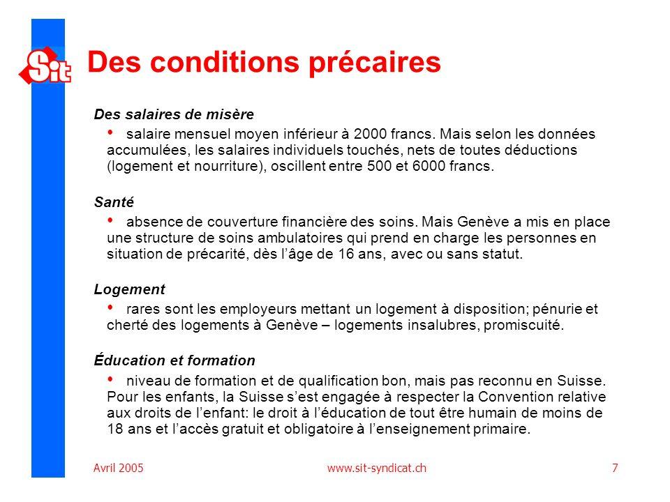 Avril 2005 www.sit-syndicat.ch7 Des conditions précaires Des salaires de misère salaire mensuel moyen inférieur à 2000 francs. Mais selon les données