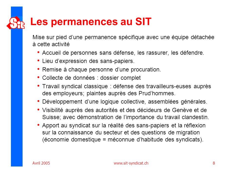 Avril 2005 www.sit-syndicat.ch8 Les permanences au SIT Mise sur pied dune permanence spécifique avec une équipe détachée à cette activité Accueil de personnes sans défense, les rassurer, les défendre.