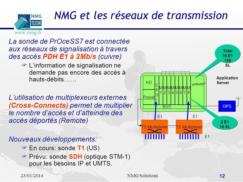 23/01/2014NMG Solutions 12 NMG et les réseaux de transmission La sonde de PrOceSS7 est connectée aux réseaux de signalisation à travers des accès PDH