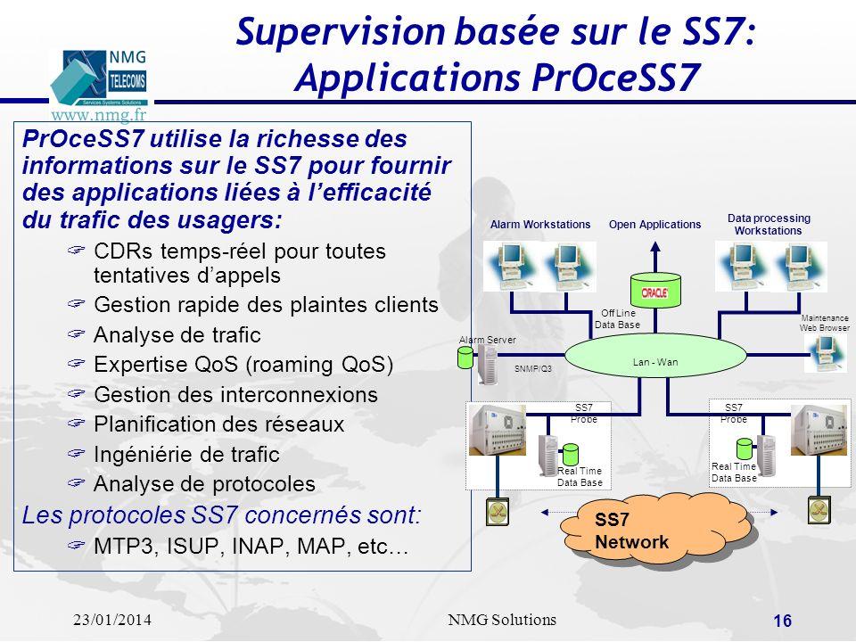 23/01/2014NMG Solutions 16 Supervision basée sur le SS7: Applications PrOceSS7 PrOceSS7 utilise la richesse des informations sur le SS7 pour fournir d