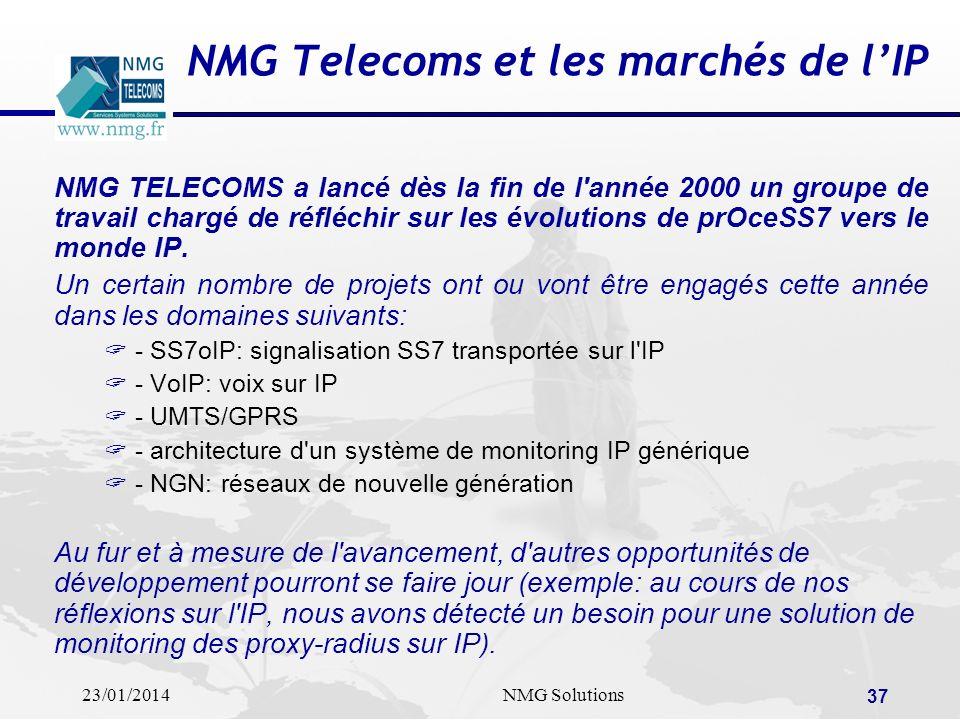 23/01/2014NMG Solutions 37 NMG Telecoms et les marchés de lIP NMG TELECOMS a lancé dès la fin de l'année 2000 un groupe de travail chargé de réfléchir