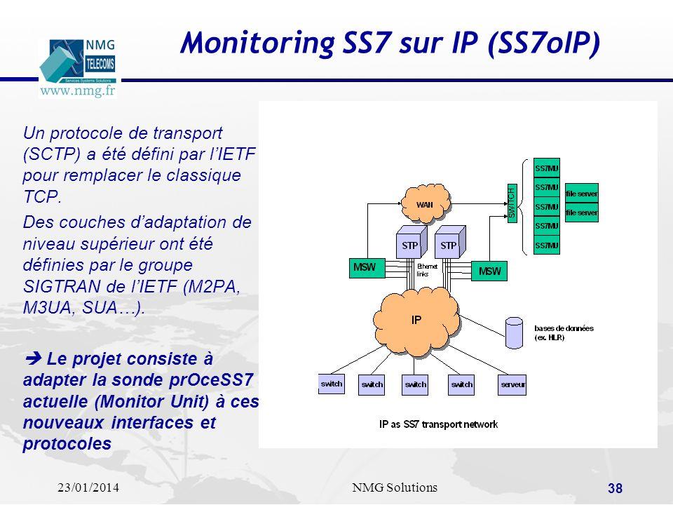 23/01/2014NMG Solutions 38 Monitoring SS7 sur IP (SS7oIP) Un protocole de transport (SCTP) a été défini par lIETF pour remplacer le classique TCP. Des