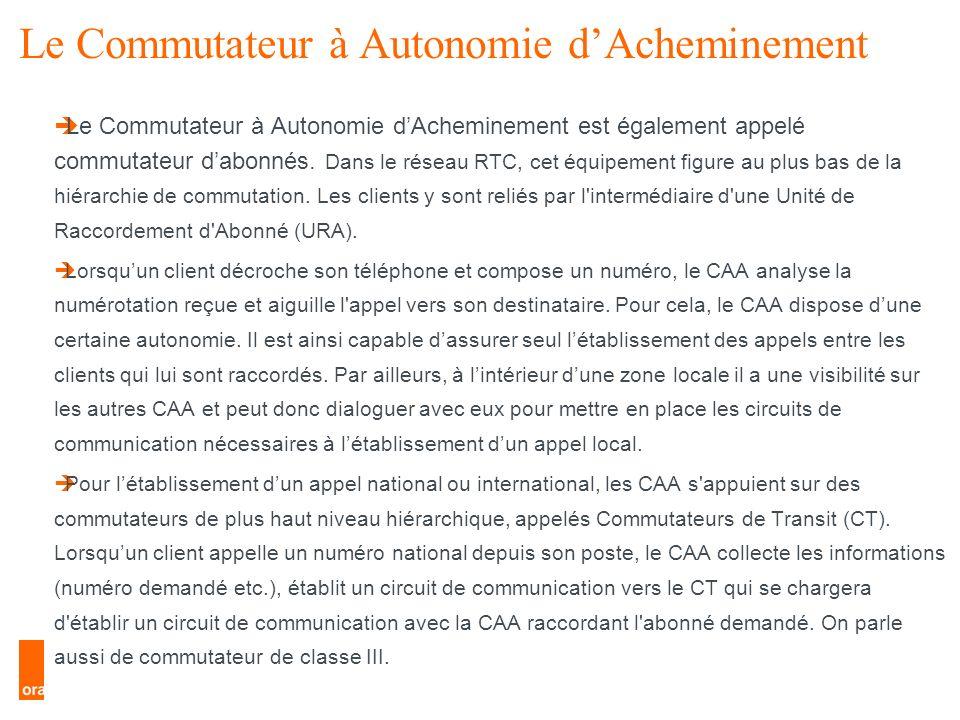 10 Le RTC Le Commutateur à Autonomie dAcheminement Le Commutateur à Autonomie dAcheminement est également appelé commutateur dabonnés. Dans le réseau