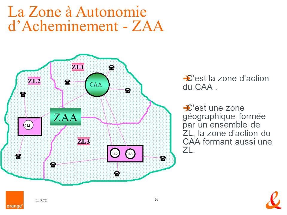 16 Le RTC C'est la zone d'action du CAA. C'est une zone géographique formée par un ensemble de ZL, la zone d'action du CAA formant aussi une ZL. La Zo