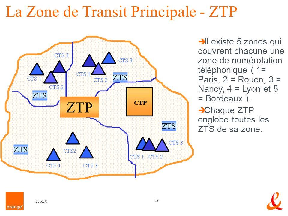 19 Le RTC Il existe 5 zones qui couvrent chacune une zone de numérotation téléphonique ( 1= Paris, 2 = Rouen, 3 = Nancy, 4 = Lyon et 5 = Bordeaux ). C