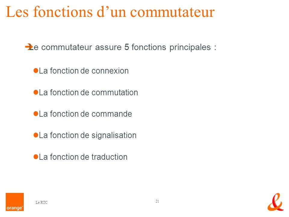 21 Le RTC Les fonctions dun commutateur Le commutateur assure 5 fonctions principales : La fonction de connexion La fonction de commutation La fonctio