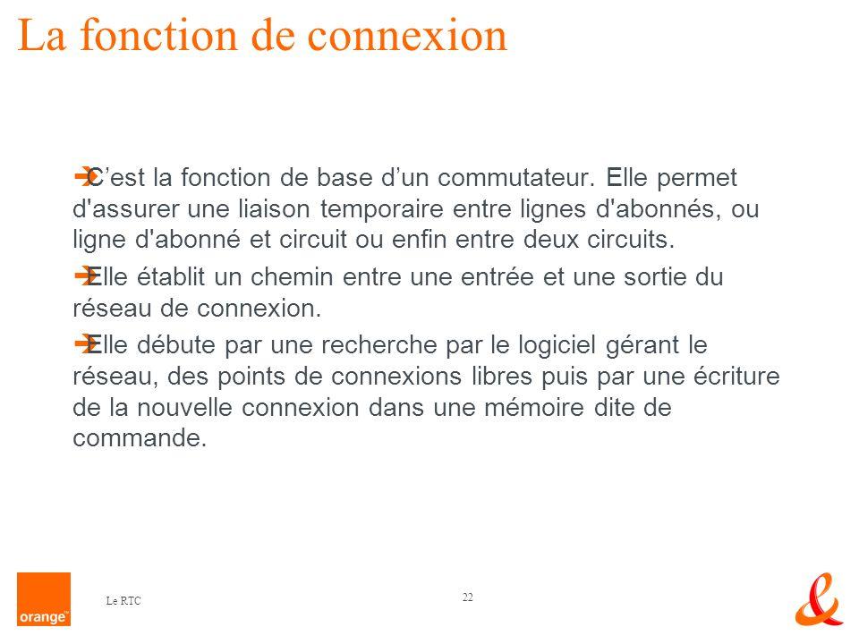 22 Le RTC La fonction de connexion Cest la fonction de base dun commutateur. Elle permet d'assurer une liaison temporaire entre lignes d'abonnés, ou l