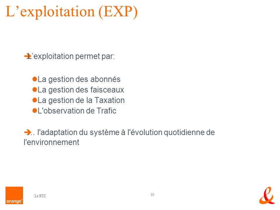 30 Le RTC Lexploitation (EXP) Lexploitation permet par: La gestion des abonnés La gestion des faisceaux La gestion de la Taxation L'observation de Tra